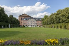 Palace garden in front of the Prince-elector Palace in the center of Trier. Trier, Germany - July 06, 2018: Palace garden in front of the Prince-elector Palace stock photography