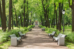 Palace Garden of the Kamennoostrovsky Palace on Kamenny Island in St. Petersburg. SAINT-PETERSBURG, RUSSIA - JULY 4, 2017: Palace Garden of the Kamennoostrovsky Stock Photos