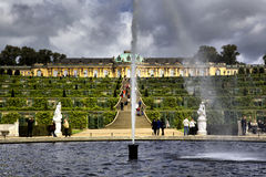 Palace and garden in Sanssouci Park in Potsdam Royalty Free Stock Photos