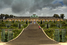 Palace and garden in Sanssouci Park in Potsdam Royalty Free Stock Photo