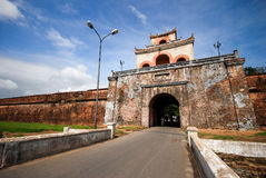 The palace gate near the moat in Hue Stock Image