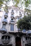 Palace of Gaudi in Barcelona (Spain) with rounded balconies Royalty Free Stock Photos