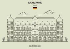 Palace Gottesaue in Karlsruhe, Germany. Landmark icon stock illustration