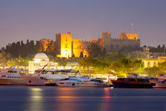 Palace of the Grand Master. At dusk in the city of Rhodes stock images