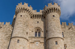Palace of the Grand Master of the Knights of Rhodes. Towers at the historic Palace of the Grand Master of the Knights castle in Rhodes Greece royalty free stock images