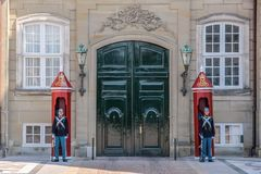Palace guard at Amalienborg Palace in Copenhagen Royalty Free Stock Photography
