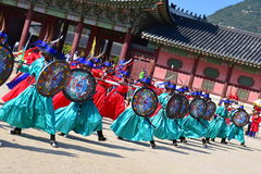 Palace guards inspection ceremony taking place at Gyeongbokgung Palace in Seoul Stock Photography