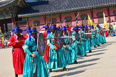 Palace guards inspection ceremony taking place at Gyeongbokgung Palace in Seoul Stock Images