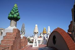 Palace Guell. Design Roof of Palace Guell. Architect Gaudi Stock Image