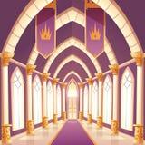 Palace hall, castle column empty corridor interior