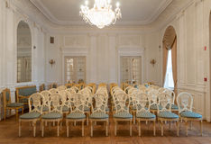 Palace hall. Concert hall in Uzutrakis palace in Lithuania owned by Tyshkevich family royalty free stock photography