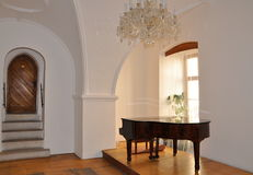 Palace hall with piano Stock Photography