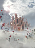 Palace of hearts with plants. Palace of queen of hearts in wonderland with wierd plants in foreground Stock Photos