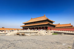 Palace of heavenly purity in beijing. Forbidden city under the blue sky Stock Photos
