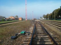 Railway. Historic monunent of Oginskiss palace in town of Plung Stock Image