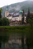 The Palace Hotel in the Bukk mountains at Lillafured, Miskolc, H. The Palace Hotel and Lake Hamori in the Bukk mountains at Lillafured, Miskolc, Hungary on a Royalty Free Stock Image