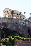 Palace Hotel Sorrento Italy. View of Sorrento and the Palace Hotel on the cliff in the Sorrentine Peninsula in the bay of Naples in South Italy royalty free stock images