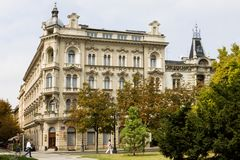 The Palace hotel in Zagreb city royalty free stock photography