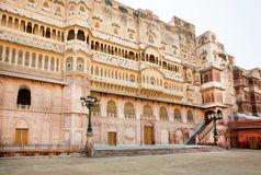 Palace of indian Maharaja in area of famous 16th century Fort in India Stock Image