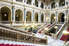 Palace indoor. Marble staircase and main hall of palace Royalty Free Stock Images