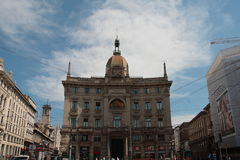 Palace Insurance General Milan. Palazzo delle Assicurazioni Generali, or Palazzo Venezia, is one of the historic buildings overlooking Cordusio Square in the stock photos