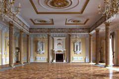 Palace interior. 3D rendering royalty free stock photography