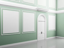 Palace interior with light walls and white door Stock Image