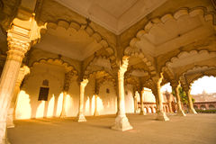 Palace Interiors.India. Arches in the interiors of the Red Fort in Agra, India Royalty Free Stock Photo
