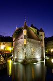 Palace of Isle  by night at Annecy Stock Photos