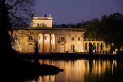 Palace on the Isle at Night in Lazienki Park in Warsaw Royalty Free Stock Image