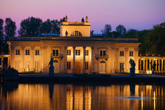 Palace on the Isle at Twilight in Warsaw Stock Photos