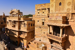 Palace of Jaisalmer Fort in Western India. Jaisalmer City in the Indian state of Rajasthan.  It lies in the heart of the Thar Desert and has nickname  The Golden Stock Photo