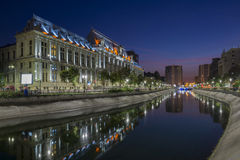 Palace of Justice in downtown Bucharest at blue hour Royalty Free Stock Photo