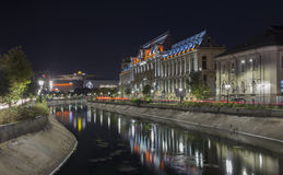 Palace of Justice in downtown Bucharest at night Stock Photography