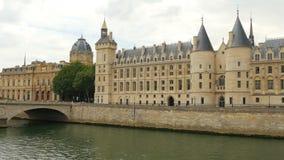 Palace justice, ile de la cite islands, seine river, paris stock video footage