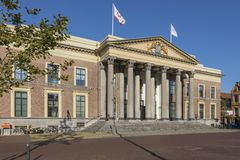 Palace of Justice at Leeuwarden, The Netherlands. Leeuwarden, The Netherlands - September 18, 2018: Gerechtshof, the Court of Justice at Wilhelminaplein square stock image