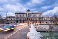 The Palace of Justice seen from the Ponte Umberto bridge in Rome, Italy. Building architecture city urban landmark italian court courthouse sky old travel royalty free stock images