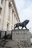 The Palace of Justice. Sofia/Bulgaria - February 11, 2015: In central Sofia, Bulgaria, stands the Palace of Justice with greek style columns and Lion statues stock photo