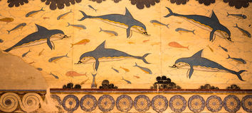 Palace of Knossos Dolphins Fresco in Crete, Greece Royalty Free Stock Images