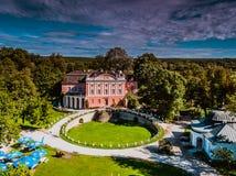 Kurozweki Palace Poland aerial summer clouds stock photos