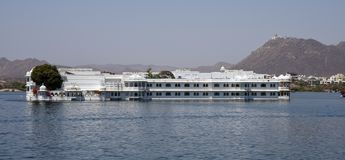 Lake palace in Udaipur Luxury Hotel. Palace in Lake Pichola, Udaipur. Its now a luxury hotel and has white marble walls stock photography