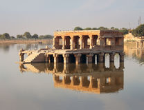 Palace on lake ruins in Jaisalmer India Royalty Free Stock Image