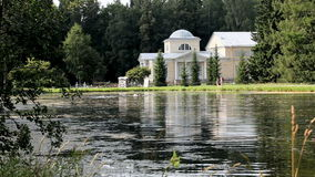 Palace on the lake. Shore landscape stock video footage