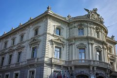 Palace of Linares at Cibeles square in City of Madrid. MADRID, SPAIN - JANUARY 24, 2018: Palace of Linares at Cibeles square in City of Madrid, Spain royalty free stock image