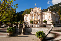 Palace Linderhof. Linderhof palace is located in Germany, in southwest Bavaria near Ettal Abbey. It is the smallest of the three palaces built by King Ludwig II Stock Photo