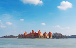 The palace in Lithuania on the picturesque lake. Royalty Free Stock Photography
