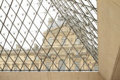 Palace Louvre. Historic building and modern glass pyramid (Paris, France Royalty Free Stock Photos