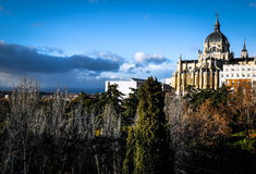 Palace in Madrid, Spain. A palace in Madrid, Spain on a cliff facing the city below Royalty Free Stock Photos
