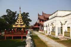Palace in Mandalay Palace. The golden tower and palace are in Mandalay Palace, Myanmar stock image
