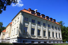 Palace,mansion in forest. A foto of the new castle near warsaw Royalty Free Stock Photo